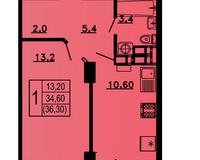 1-комнатная квартира 36,3 кв.м