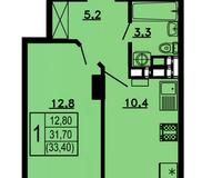 1-комнатная квартира 33,4 кв.м