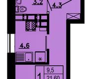1-комнатная квартира 22,6 кв.м