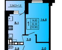 1-комнатная квартира 33,9 кв.м