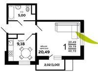 1-комнатная квартира 40.19 кв. м