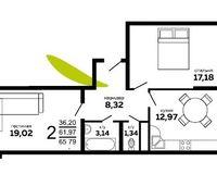 2-комнатная квартира 65.79 кв. м