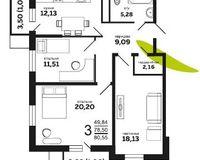 3-комнатная квартира 80.55 кв. м