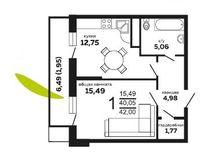 1-комнатная квартира 42 кв. м