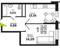 1-комнатная квартира 39.38 кв. м
