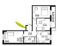 3-комнатная квартира 81.92 кв. м