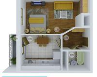 1 комнатная квартира 36,07 кв. м