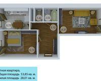 2 комнатная квартира 53,85 кв. м