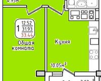 Площадь 33,44 кв. м