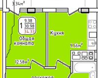 Площадь 34,33 кв. м