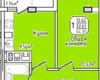 Площадь 34,35 кв. м