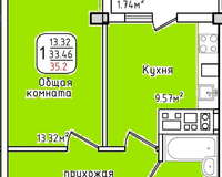 Площадь 35,2 кв. м