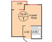 Студия 26 кв.м