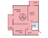 2 комнатная квартира 47.90 кв.м