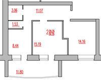 2-комнатная квартира 59.35 кв. м