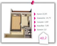 1-комнатная квартира 40.2 кв. м