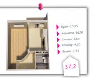 1-комнатная квартира 37.2 кв. м