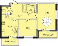 2-комнатная квартира 52,67 кв. м