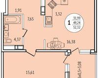 1-комнатная квартира 52,32 кв. м