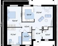 Дом площадью 70,2 кв. м