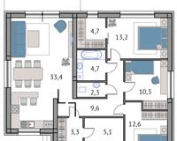 Тип 1, этаж 1