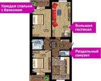 3-комнатная квартира, площадь 77.4 кв. м