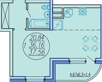 1 комнатная квартира 37,56 кв. м