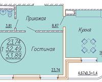 1 комнатная квартира 53,89 кв. м