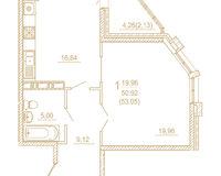 1 комнатная квартира  53,05 кв. м