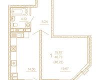 1 комнатная квартира 48,23 кв. м