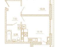 1 комнатная квартира 48,02 кв. м