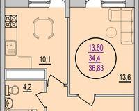 1 комнатная квартира 36,83 кв. м