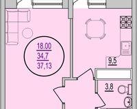 1 комнатная квартира 37,13 кв. м