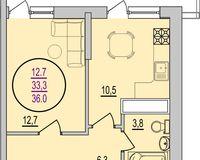 1 комнатная квартира 36 кв. м
