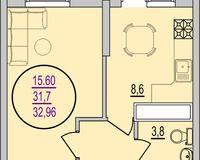 2 комнатная квартира 32,96 кв. м