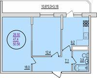 2 комнатная квартира 50,58 кв. м
