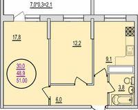 2 комнатная квартира 51 кв. м