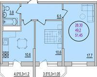2 комнатная квартира 51,45 кв. м