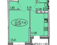 1 комнатная квартира 39,07 кв. м
