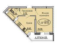 1 комнатная квартира 41,48 кв. м