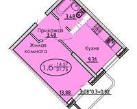 1 комнатная квартира 31,76 кв. м
