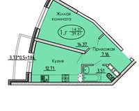 1 комнатная квартира 39,61 кв. м