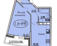 1 комнатная квартира 37,33 кв. м