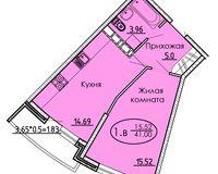 1 комнатная квартира 41 кв. м