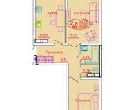 2 комнатная квартира 66,84 кв. м