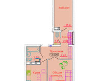 2 комнатная квартира 58,49 кв. м