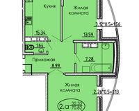 2 комнатная квартира 70,82 кв. м