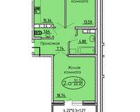 2 комнатная квартира 64,40 кв. м