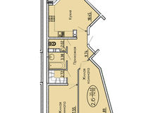 2 комнатная квартира 74,98 кв. м