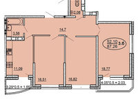 3 комнатная квартира 87,26 кв. м